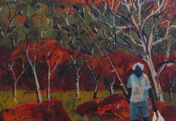 Fisherman in a Landscape, Alice Springs by Patrick Carroll