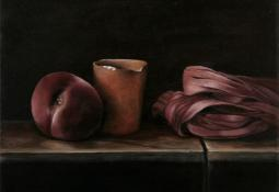 Twisted Silk with Peach and Vessel by Jo Young